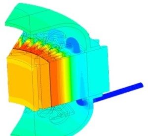 ANSYS Fluent results depicts the temperature in the coolant and the coolant. ANSYS Maxwell heat loss feeds into Fluent Simulation.