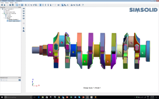 A crank shaft given to Welch by a third party colleague that has many parts, faces and slivers in its CAD geometry. Without simplifying the geometry, SIMSOLID performed a modal analysis in 9 seconds. Welch's buddy would take an afternoon performing the study using traditional FEA. (Image courtesy of SIMSOLID.)