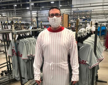 Fanatics is creating masks and gowns with its fabric typically used for MLB jerseys. (Image courtesy of Fanatics/Twitter.)