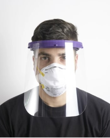 Voodoo, a 3-D printing company, has focused efforts on creating low-cost face shields, as well as assembly instructions. engineering masks and instructions. (Image courtesy of Voodoo.)