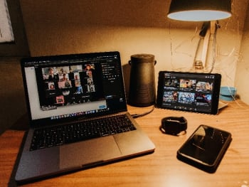 A set up of their video conference call from home. (Image courtesy of FRAMOS.)