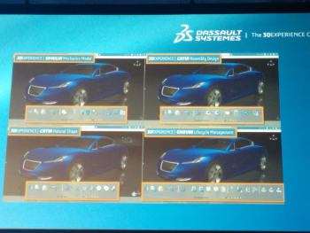 One file opened in the 3DEXPERIENCE's SIMULIA, CATIA Assembly Design, CATIA Natural Shape and ENOVIA product lifecycle management. Each tool looks and feels similar. Their democratized UI makes them easier to pick up than traditional CAE tools. (Image taken at SIMULIA Community Conference 2014.)