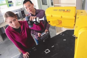 Jennifer Creamer (left) and Le Ma (right) are both Ph.D. students at Missouri S&T. Creamer recently published her research into methods of improving the accuracy of 5-axis machine tools. (Image courtesy of Missouri S&T.)