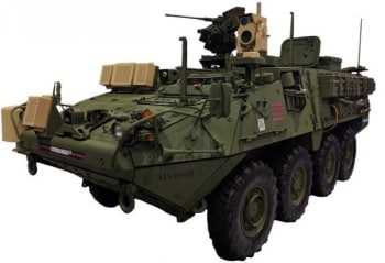 MEHEL 2.0 mounted on a Stryker assault vehicle.