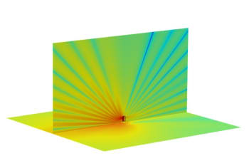 Figure 5. Hybrid FEA and BEM simulation to assess a speaker system. (Image courtesy of COMSOL.)