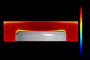 Figure 7. Simulation of the period-averaged electric potential in an asymmetric CCP reactor. The reactor's asymmetry creates a negative DC self-bias at the powered electrode. (Image courtesy of COMSOL.)