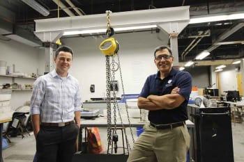 Chris Carroll, Ph.D., P.E., assistant professor of civil engineering and Ronaldo Luna, Ph.D., P.E., chair and professor of civil engineering at Saint Louis University. (Image courtesy of SLU.)