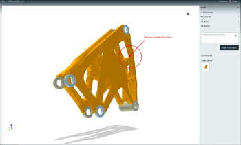 No need to jump into Inspire, work with your team and discuss the design in the previewer. Be sure to leave some comments to guide your team along the way. (Image courtesy of solidThinking.)