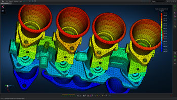 Eigen value analysis of an engine-sub-assembly using MSC Apex. Will CVC Capital be the new owners of this software? (Image courtesy of MSC Software.)