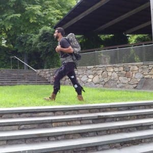 The multi-joint soft exosuit consists of textile apparel components work at the waist, thighs and calves that guide mechanical forces from an optimized mobile actuation system attached to a rucksack via cables to the ankle and hip joints.  In addition, a new tuning method helps personalize the exosuit's effects to wearers' specific gaits. (Image courtesy of Harvard Biodesign Lab.)