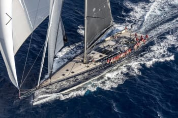 The RP-Baltic 130 Custom racing yacht. A lot of lightweighting went into the design of its hull and deck. (Image courtesy of Carlo Borlenghi and Reichel/Pugh).