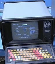 Allen Bradley 1770-T2 PLC 2 Programming Terminal circa 1980. They stuck a handle on it and called it portable. It wasn't.