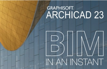 The banner for Graphisoft's newly-demoed Archicad 23, released at the firm's Las Vegas Key Client conference. The background features a model of the nearly-built Irina Viner-Usmanova Rhythmic Gymnastics Center, created with Graphisoft's software (Image courtesy of Graphisoft.)
