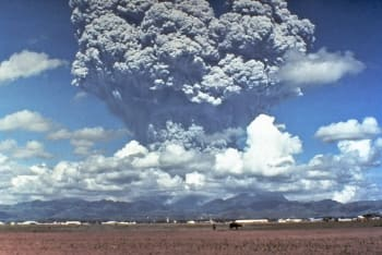 The 1991 eruption of Mount Pinatubo in the Philippines. Nearly 20 million tons of sulfur dioxide, dust and ash entered the atmosphere, causing an average half degree global drop in temperature. (Image credit: Dave Harlow, USGS.)