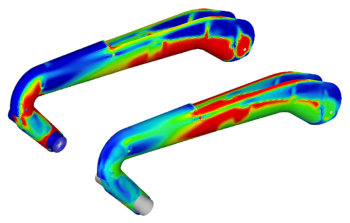 FEA analysis of the RP90 anchor arm was used to optimize the composite material such as ply thickness and orientation. (Image courtesy of Reichel/Pugh.)