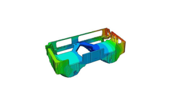 Strength and fatigue analysis of the circuit box that takes the FDM printing process and printed materials into account. (Image courtesy of Dassault Systèmes.)