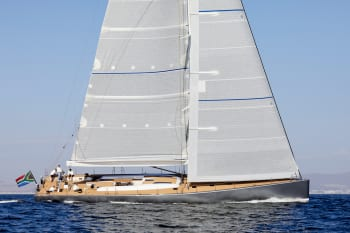 The RP90 racing yacht's anchor arm was made from lightweight composites. (Image courtesy of Peter Schreiber and Reichel/Pugh).