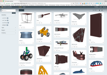 Users can find similar designs to start from in the Unlimited gallery. Alternatively, they can upload their own and share it with the team. (Image courtesy of solidThinking.)