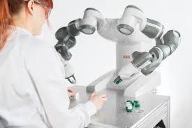 Human working with collaborative robot. (Image courtesy of ABB.)