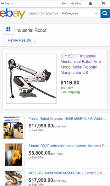 Used robots listed on Ebay.