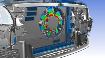 Electronics motor being assessed under an acoustics simulation. (Image courtesy of ANSYS.)