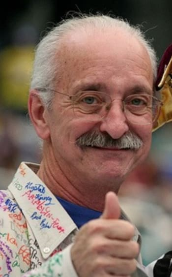Woodie Flowers (1943 – 2019) at the 2006 FIRST Championship. (Image courtesy of Jake Ingman.)