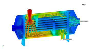 Shell and tube heat exchanger simulation shows temperature contours, streamlines and key flow values. Wouldn't this all be useful on the production floor through a digital twin? (Image courtesy of ANSYS.)