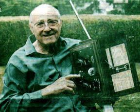 Donald Hings and his invention, the walkie-talkie.