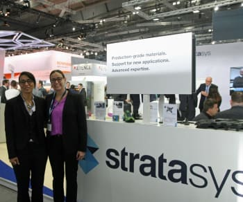 Stratasys and e-Xstream Engineering announce 3D-printing simulation partnership. Zoubida El Hachemi, e-Xstream sales director worldwide with Keren Ludomirski Zait, Stratasys senior director of Business Development & Strategic Alliance. (Image courtesy of Business Wire.)