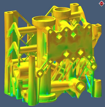 The effective stress in a 3D-printed manifold after it is cut from a base plate. (Image courtesy of MSC Software.)