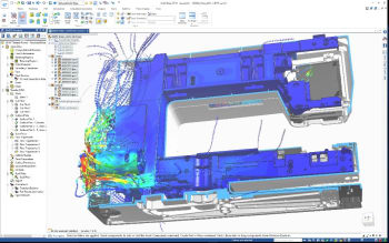 Solid Edge Flow Simulation delivers fast fluid flow and heat transfer simulation and analysis—easy to use for the designer, powerful enough for a specialist.(Image courtesy of Siemens.)