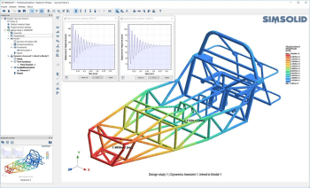 A transient dynamic simulation of an automotive racing frame using SIMSOLID Professional. (Image courtesy of SIMSOLID.)