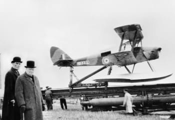 Winston Churchill at the launch of the de Havilland Queen Bee drone in 1941. (Image courtesy of the Imperial War Museum.)