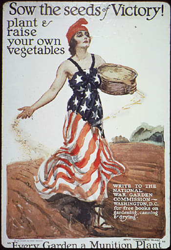 WWI-era U.S. victory poster featuring Columbia sowing seeds.