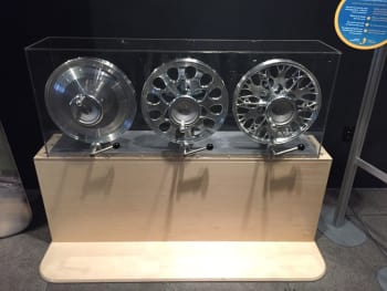 Hu's original wheel (left), an early iteration of the design (center), and the biomimetically inspired final product (right).