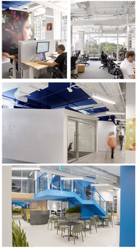 Comparison of various spaces and neighborhoods in Autodesk's new Toronto office. (Images courtesy of Autodesk.)
