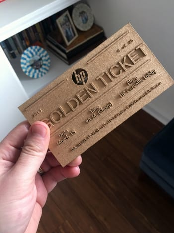 A reference to Willy Wonka and the Chocolate Factory, HP provided its guests with 3D-printed, serialized golden tickets.