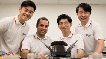 The research team from the NUS Department of Mechanical Engineering developed MantaDroid, a robotic manta ray that can swim at the speed of twice its body length per second for up to 10 hours (From left to right: Gunawan Sun, Research Engineer; Soheil Arastehfar, Research Fellow; Associate Professor Chew Chee Meng; and Lu Hao, Research Fellow) (Image courtesy of NUS.)