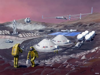 High performance materials and structures are needed for safe and affordable next generation exploration systems such as transit vehicles, habitats, and power systems.  (Image courtesy of NASA.)