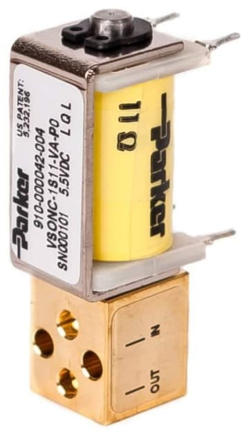 This Parker VSO miniature proportional valve is typical of the pneumatic control devices needed for compact point-of-care testing devices. Overall length is under two inches. (Image courtesy of Parker.)