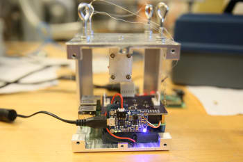 Inside the CubeSat. (Image courtesy of Purdue University photo/Erin Easterling.)