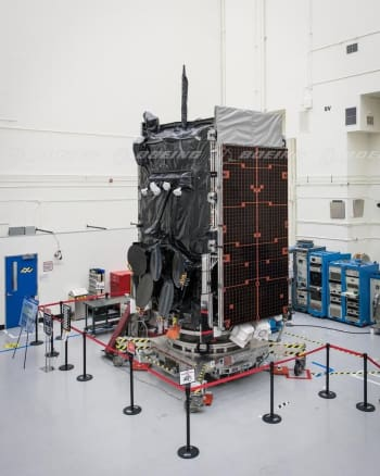 One of nine WGS satellites being assembled in a clean room at a Boeing facility. Each WGS satellite is more than 10 times more capable than its predecessor.