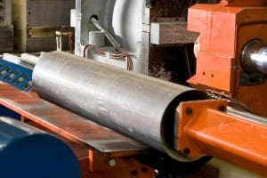 The billet press is the first stop in the aluminum extrusion process. (Image courtesy Vitex Extrusion.)