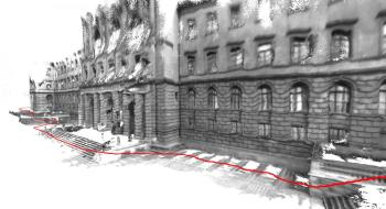 A 3D map of a building created using the ETH Zurich team's software. The red line shows where the user walked to generate the model. (Image courtesy of ETH Zurich/Thomas Schöps.)