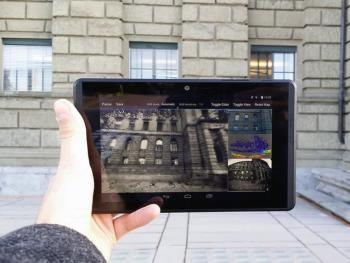 The team's software uses a Google Project Tango tablet to generate 3D models of buildings. (Image courtesy of ETH Zurich/Thomas Schöps.)