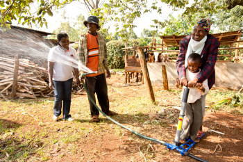 The KickStart MoneyMaker Hip Pump is operated much like a traditional bike pump and can irrigate more than an acre per day. (Image courtesy of KickStart International.)