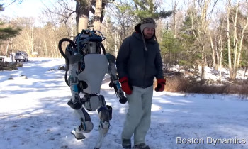 Atlas is about the size of an adult human male and can handle even slippery winter conditions. (Image courtesy of Boston Dynamics.)