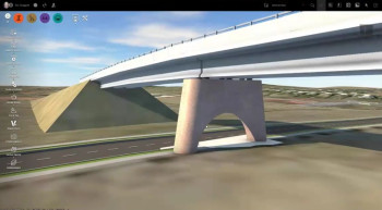 InfraWorks 360 lets users design infrastructure, including bridges, in a real-world context. (Image courtesy of Autodesk.)