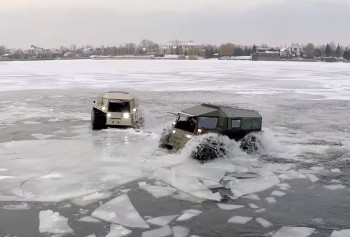 Sink or swim: the SHERP ATV could have applications as an all-terrain military transport truck. (Image courtesy of SHERP/YouTube.)