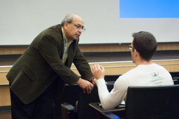 Professor Ashok Goel in his classroom. (Image courtesy of Georgia Tech.)